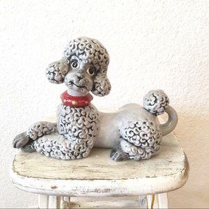 Vintage Poodle Ceramic Statue Figurine Retro Decor